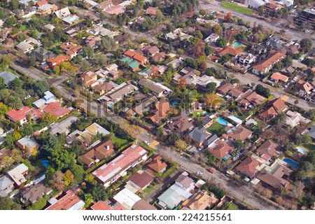 Aerial view of a wealthy neighborhood in Santiago de Chile - stock photo