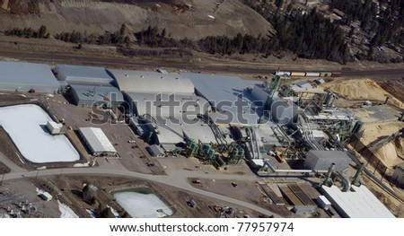 aerial view of a wood processing plant