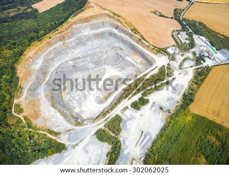 Aerial view of abandoned mine. Industrial landscape after mining. - stock photo