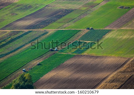 Aerial view of agricultural land  - stock photo