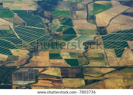 aerial view of agriculture - stock photo