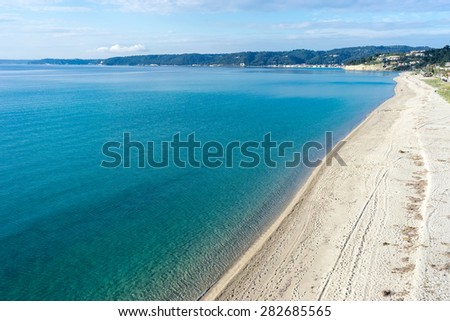 Aerial view of Aigeopelagitika beach in Halkidiki, Greece - stock photo