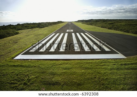 Aerial view of airplane landing field on Maui, Hawaii. - stock photo