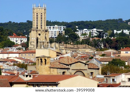 Aerial view of Aix-en-Provence, France - stock photo