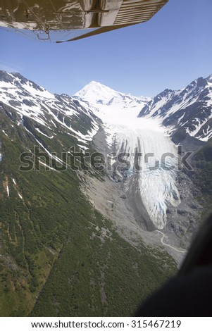 Aerial view of alaskan wilderness from a small airplane