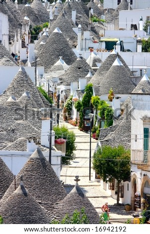 Aerial view of Alberobello, Italy - stock photo