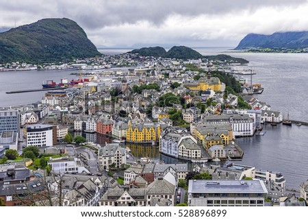 Aerial view of Alesund town, Norway. Alesund is part of the traditional district of Sunnmore and is a sea port, noted for its unique concentration of Art Nouveau architecture