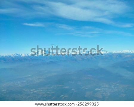 Aerial view of Alps mountains