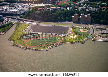 Aerial view of American Football Field. - stock photo