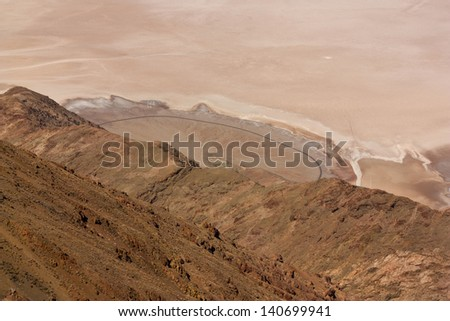 Aerial view of an alluvial fan in Death Valley