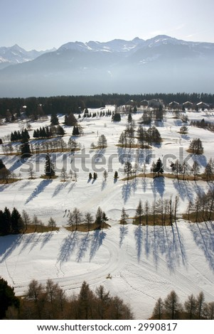 Aerial view of an alpine ski resort.