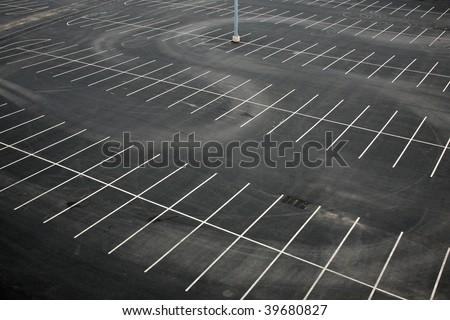 Aerial view of an empty parking lot - stock photo