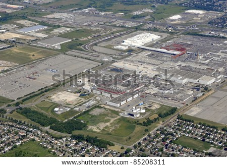 aerial view of an industrial area in Oshawa Ontario Canada - stock photo