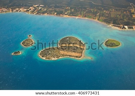 Aerial view of an island in the Adriatic - stock photo