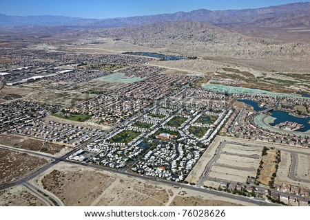 Aerial view of an RV Resort along with the Indio Hills in the Coachella Valley - stock photo