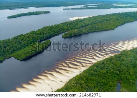 Aerial view of Anavilhanas National Park Islands, Rio Negro, Brazilian Amazon - stock photo