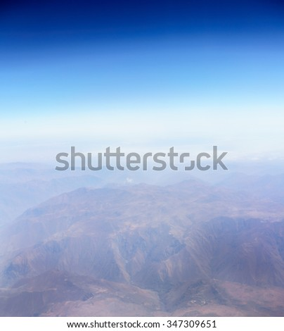 Aerial view of Andes mountains - stock photo