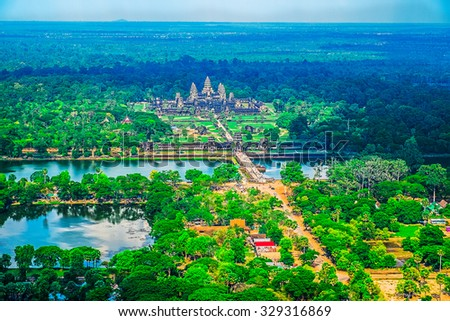 Aerial view of Angkor Wat Temple, Cambodia, Southeast Asia - stock photo
