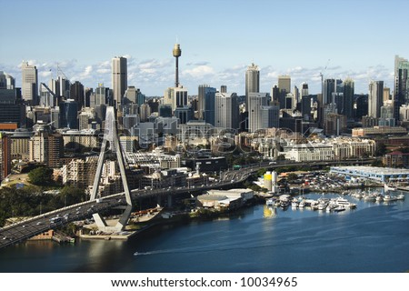 Aerial view of Anzac Bridge and downtown buildings in Sydney, Australia. - stock photo