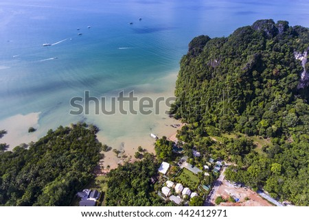 Aerial view of Ao Nam Mao beach in Krabi, Thailand.  Tourists can get to Railay beach by ferry from Ao Nam Mao pier.  - stock photo