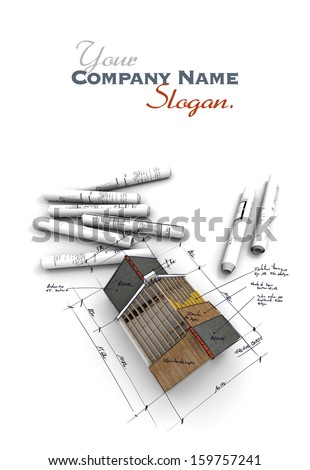 Aerial view of  architecture model, with rolled up blueprints and handwritten notes and measurements - stock photo