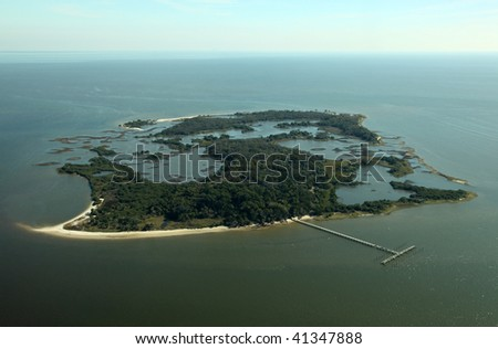 Aerial view of Atsena Otie Key near Cedar Key, Florida, USA - stock photo