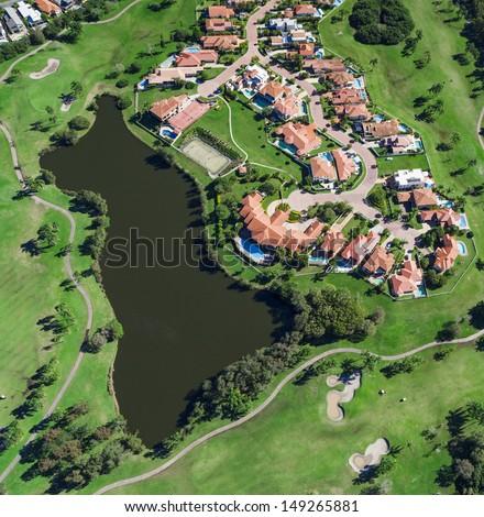 Aerial view of australian luxury golf neighborhood - stock photo