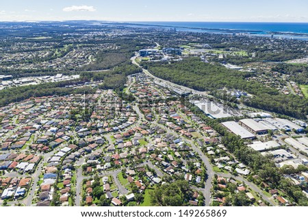 Aerial view of  australian suburb and infrastructure - stock photo