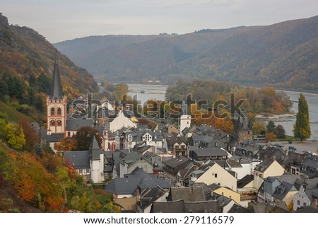 Aerial view of Bacharach, Rhine Valley, Germany - stock photo