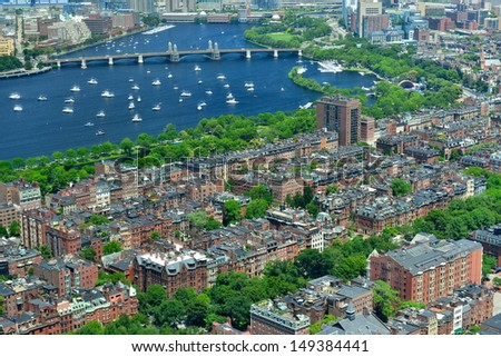 Aerial view of Back Bay, Charles River and Longfellow Bridge, Boston, MA, USA - stock photo