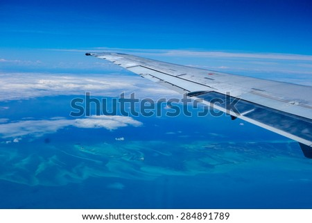 Aerial view of Bahamas islands, USA