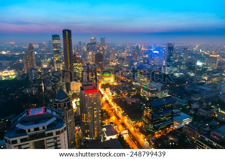 Aerial view of bangkok at night, Thailand.