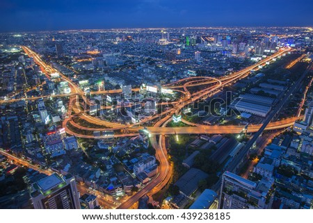 Aerial view of Bangkok city, Night scene with traffic light, Thailand on on jun 18, 2016 in Bangkok.