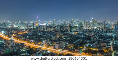 Aerial view of Bangkok downtown and skyscraper.