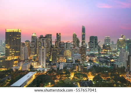 Aerial view of Bangkok modern office buildings, condominium in Bangkok city downtown with sunset sky ,Bangkok is the most populated city in Southeast Asia. Bangkok , Thailand