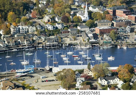 Aerial view of Bar Harbor in autumn, Maine - stock photo