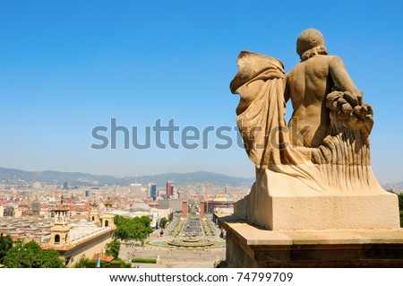 Aerial view of Barcelona and its skyline from Montjuich, Spain - stock photo