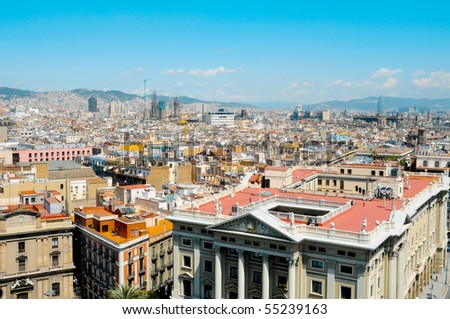 Aerial view of Barcelona and its skyline, Spain - stock photo