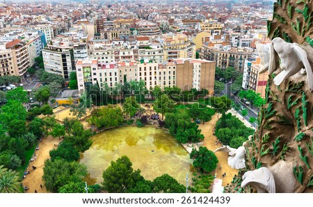 Aerial view of Barcelona and square of Gaudi, Spain - stock photo