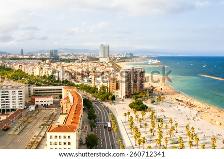 Aerial view of Barcelona Beach - stock photo