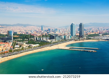 aerial view of Barcelona from Mediterranean. Barceloneta beach and Port Olimpic - stock photo