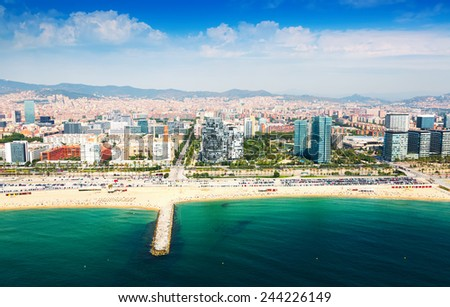 Aerial view of Barcelona from sea. Sant Marti  Neighbourhood district - stock photo