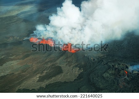 Aerial view of 2014 Bardarbunga volcano eruption in Iceland, Hawaii - stock photo