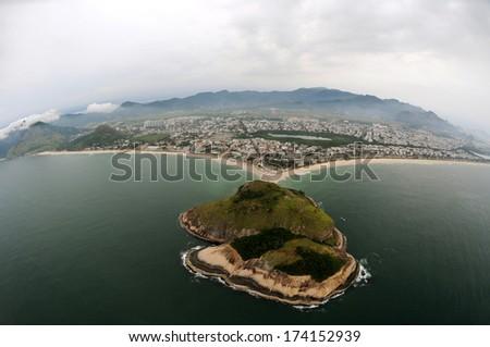 Aerial view of Barra da Tijuca and Pontal beachs in Rio de Janeiro.  - stock photo