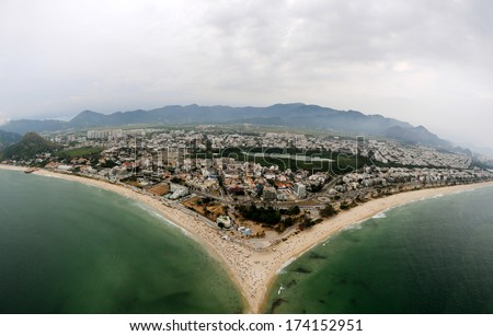Aerial view of Barra da Tijuca and Pontal beachs in Rio de Janeiro.  - stock photo