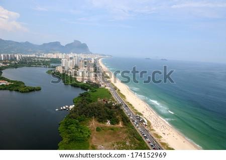 Aerial view of Barra da Tijuca beach in Rio de Janeiro.  - stock photo