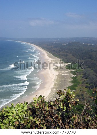 Aerial view of Bay,crashing waves,hot country