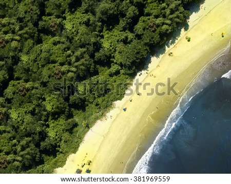 Aerial view of beach - stock photo