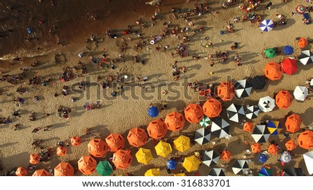 Aerial View of Beach in Rio de Janeiro, Brazil - stock photo
