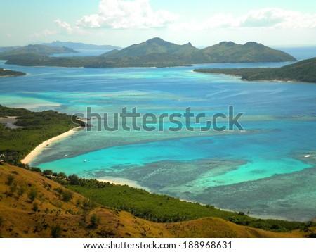 Aerial view of beach paradise, Fiji Islands. - stock photo